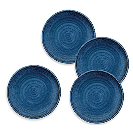 Artisan Franc s Color Azul Plato Llano melamina Picnic Barbacoa Buffet al Aire Libre Cena Plato Set de 4 26 5 cm