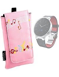 DURAGADGET Estuche Acolchado Para Alcatel OneTouch Watch - Diseño Musical Color Rosa - Con Cierre De Velcro Y Trabilla Para El Cinturón