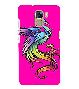 Fabcase fiercy computer designed bird scary sharp eyes pink Designer Back Case Cover for Huawei Honor 7 :: Huawei Honor 7 (Enhanced Edition) :: Huawei Honor 7 Dual SIM