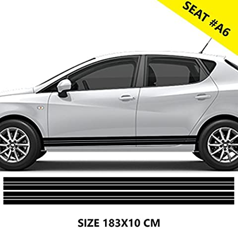 Seat Car Side Stripes Graphics Vinyl Decal (Black)