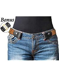 2e6496c81 Xhtang Cinturón Elástico Sin Hebilla para Mujer para Hombre, Sin Hebilla  Invisible Cinturón para Pantalones Vaqueros.