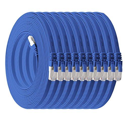 0,25m - blau - 10 Stück Cat7 Flachkabel Netzwerkkabel Cat 7 Rohkabel Gigabit LAN (10Gbit/s) Flachbandkabel Verlegekabel Patchkabel Flach Slim Rj 45 Stecker Cat6a