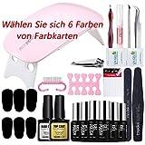 Modelones uv nagellack Starter Set Kit mit UV/LED lichthärtungsgerät mini nageltrockner top coat & base coat und 6 Gellacke optional