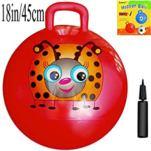 Space Hopper Ball: Red, 18-inch/45cm Diameter for Ages 3-6, Pump Included (Hop Ball, Kangaroo Bouncer, Hoppity Hop, Sit and Bounce, Jumping Ball)