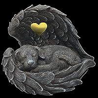 Hunde Urne grau ALS Hunde-Engelfigur im Flügel, Tierurne