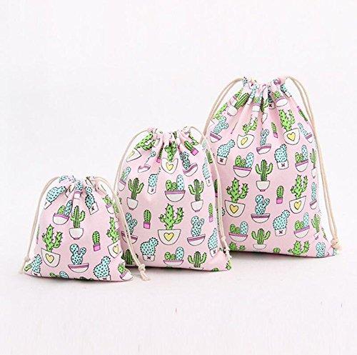 Machen Drawstring Handtasche (WeiMay Aufbewahrungs tasche Kaktus Muster Baumwoll Leinen Kordelzug Lagerung Tasche Trümmer Tasche Handtasche)