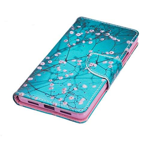Huawei P9 Lite, P9 Huawei Lite, ikasus, motivo: floreale con farfalle, con aletta, in pelle sintetica in PU a portafoglio-Custodia a portafoglio in pelle con funzione di supporto e porta carte di cred Blue Plum Blossom