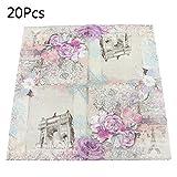Shaoyanger, 20 tovaglioli di carta usa e getta, quadrati, stampati, motivo floreale, per feste e celebrazioni