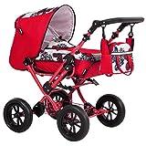 Zekiwa Modell Zeki Elegance, hochmodischer Kombipuppenwagen mit Tragetasche und Fusssackfuntkion, Anhängetasche inklusive, Dessin: Butterfly Rot