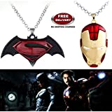 "(2 Pcs SET) - BATMAN SUPERMAN DAWN OF JUSTICE LOGO (BLACK METAL) & IRONMAN HELMET (RED/GOLD) IMPORTED PENDANTS WITH CHAIN. LADY HAWK DESIGNER SERIES 2018. ❤ ALSO CHECK FOR LATEST ARRIVALS OF ""LADY HAWK"" BRAND PRODUCTS - NOW LISTED FOR"