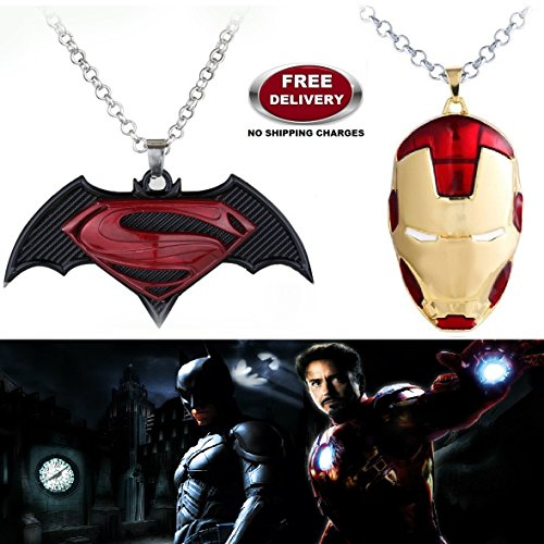 """(2 Pcs SET) - BATMAN SUPERMAN DAWN OF JUSTICE LOGO (BLACK METAL) & IRONMAN HELMET (RED/GOLD) IMPORTED PENDANTS WITH CHAIN. LADY HAWK DESIGNER SERIES 2018. ❤ ALSO CHECK FOR LATEST ARRIVALS OF """"LADY HAWK"""" BRAND PRODUCTS - NOW LISTED FOR"""