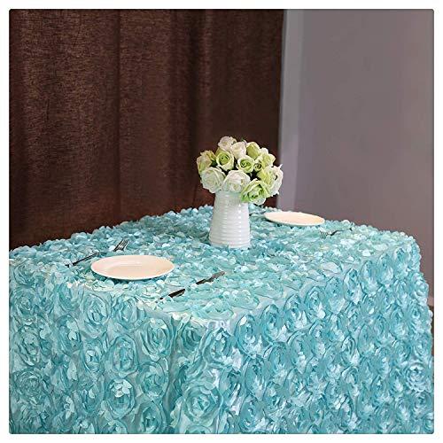 Miss Chang 3D Blumenschlitzüge Baby Blau Rosette Tischtuch Glitz Tisch Linen Tischdekoration,47.2inches(1.2mround)