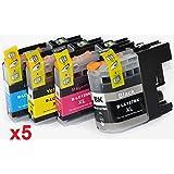 Prestige Cartridge LC-127XL LC-125XL Lot de 20 Cartouches d'encre compatible avec Imprimante Brother DCP-J132W, DCP-J152W, DCP-J552DW, DCP-J752DW, DCP-J4110DW, MFC-J245, MFC-J470DW, MFC-J650DW, MFC-J870DW, MFC-J4410DW, MFC-J4510DW, MFC-J4610DW, MFC-J4710DW, MFC-J6520DW, MFC-J6720DW, MFC-J6920DW, Noir/Cyan/Magenta/Jaune