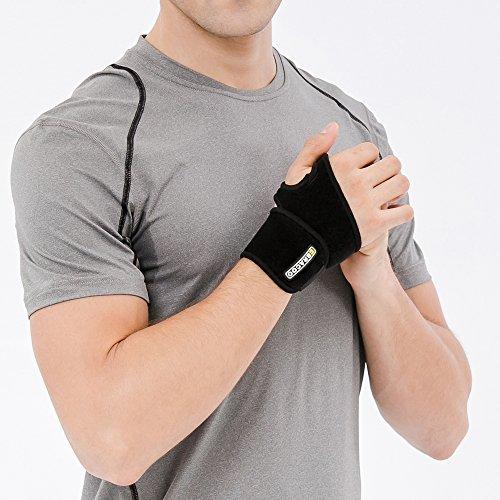 Bracoo Premium Handgelenkbandage - Bandage für Kraft-Sport, Bodybuilding, Crossfit & Fitness  - für Damen und Herren geeignet - Atmungsaktive Handgelenkstütze schwarz