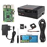 Für Raspberry Pi 3 Starter Kit mit Pi 3 Modell B Barebones Computer Hauptplatine 64bit Quad Core, Lüfter, 32G Micro SD Karte, HDMI Kabel, 2.5A Netzteil, schwarzes Gehäuse