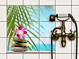Fliesenfolie selbstklebend 15x15 cm 3x3 Design Lotus Flower (Erholung) Klebefolie Küche Bad