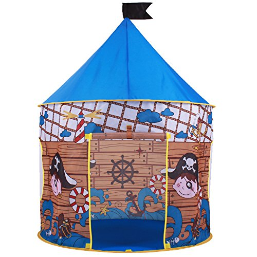 Pirate Hideout Play Tent - Kids play tent for indoors or outdoors. Wendy house for the beach or garden. This children�s tent is the perfect beach tent for boys and girls. Kids Pirate Tent design and free Carry bag.