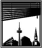 Wandtattoo Skyline Schwerte Stadt Fenster Briefmarke Marke Wand Aufkleber Türaufkleber Möbelaufkleber Autoaufkleber Wohnzimmer 5M241, Farbe:Königsblau Matt, Hohe:60cm