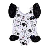 Quaan Sommer- Herbst Neugeborenes Baby Mädchen Karikatur Katze Drucken Spielanzug Body Overall Beiläufig Mini Niedlich Weich Baumwolle Geschenk Party gemütlich Party Kleid Kleider