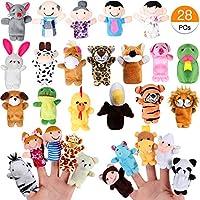 Joinfun Marionetas de Dedo 22pcs Cartoon Animal Hand Toys 6pcs Gente Marionetas de Miembros de la Familia para bebés Infantes Niños pequeños Cuento Educativo Hora (28pcs)