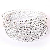 Creacraft 5m Fil d'Aluminium Structuré pour Perlage et Bijoux (spiralé, argent)