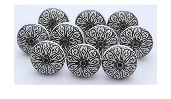 Manopole Indian lotto di 10/bianco e blu pomelli in ceramica dipinta armadio da cucina cassetto estrattore tira 10