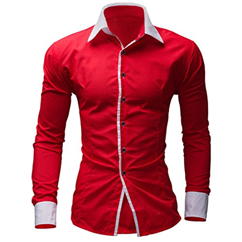 Men's Hawaiian Style Slim Fit Long Sleeve Casual Shirts red
