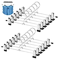 WYCTIN Metal Skirt Hangers, 12 Pack Pants Skirt Slack Clothes Hangers with Two Non Slip Adjustable Clips 360 Degree Heavy Duty Shorts Hangers-For Children