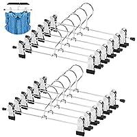 WYCTIN Perchas para Falda de Metal, 12 Unidades, para Pantalones, Faldas, Perchas de Ropa con Dos Clips Antideslizantes Ajustables, 360 Grados, Resistentes