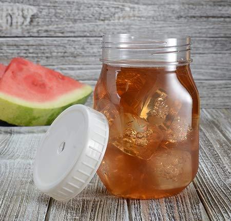 Set von 6 Premium Kunststoff Mason Jars mit Deckel, Mogito Cocktail-Trinkbecher mit Schraubdeckel, 475 ml (Großen Griffen Mason Mit Gläser)