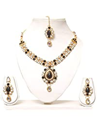 SuperShop Black Gold Plated Necklace Set For Women