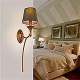 GZEDG Amerikanisches Dorf Jahrgang Schmiedeeisen Wandlampe Schlafzimmer Nachttischlampen Wohnzimmer im europäischen Stil Lampe Gang Treppe kreative, mediterran (Color : Sigle head)