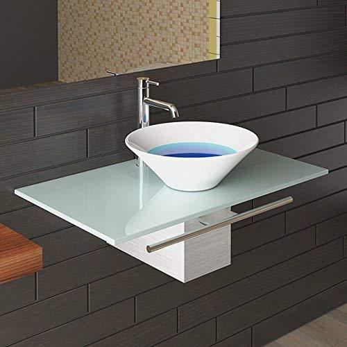 Waschplatzlösung/Milchglasplatte/Keramikbecken/Badmöbel aus Glas/Waschtisch/Waschbecken/