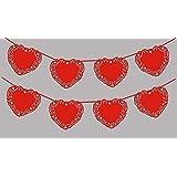 1x Girlande Hochzeit EinsSein® Herz rot schimmernd Dekoration Party