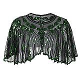 kayamiya Frauen der 1920er Jahre Schal Pailletten Perlen Art-Deco-Hochzeit Cape Abend Wrap Grün