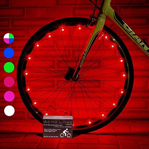 Activ Life Luci a LED per Ruote di Biciclette (Conf. da 1 per Copertone, Rosso) Idea Regalo per Natale - Vendita Speciale per Black Friday e Cyber Monday - Lui, Lei, Bambini e Teenager