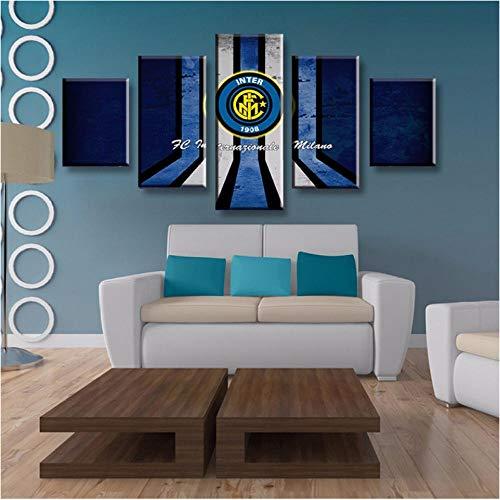 Football Club Internazionale Milano Decor Wandkunst Bilder Wohnzimmer Leinwand Malerei gerahmt 5 Stücke - 40x60cmx2 40x80cmx2 40x100cmx1 -