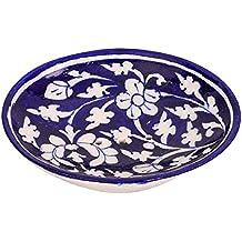 Aditya Blue Art Pottery Ceramic Soap Dish (12.5 x 10 x 3 cm, Blue)