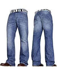 469fdf5d948 Von Denim Men's Wide Leg Bootcut Flared Blue Heavy Denim Jeans with Belt