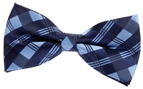 Retreez Herren Gewebte vorgebundene Fliege Tartan Plaid Muster 13 cm - blau -