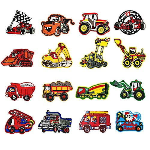 Sunshine smile Bügelflicken Kinder, 16 Stück Patches zum Aufbügeln Auto Aufnäher Applikation Flicken Zum Aufbügeln für DIY T-Shirt Jeans Kleidung Taschen,Flicken Patches (Truck)