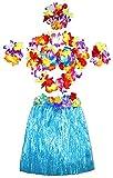 JUNGEN 6pcs Falda de Hierba de Hula con Flores Disfraces Guirnalda Pulsera Diadema Kit Hawaiana Costumes Accesorios para Festivales de Danza Fiesta de Playa (40cm Espesar)