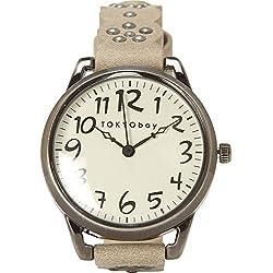 Tokyobay T259-GY Frauen-Edelstahl-Lederband weißes Zifferblatt Watch
