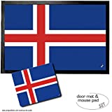 Set: 1 Fußmatte Türmatte (60x40 cm) + 1 Mauspad (23x19 cm) - Island, Flaggen der Welt