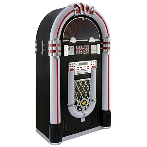 Monstershop Jukebox Holz-Gehäuse Retro 50er Jahre Musikbox mit Schallplattenspieler USB-SD-Slot, AUX, MP3 Player CD-Player Bluetooth Radio mit LED-Beleuchtung Fernbedienung 105cm x 57cm x 30cm