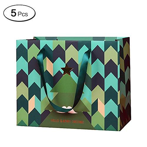 (Zhi Jin 5x Schnurrbart Weihnachtsbaum Papier Geschenk Beutel mit Griffen Paket Tasche Verpackung Presents, M-16*12*13cm/6.2*4.7*5.1Inch)