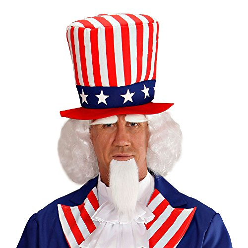 Kostüme Uncle Halloween Sam (Widmann 06750 Perücke, Spitzbart und Augenbrauen, Uncle Sam,)