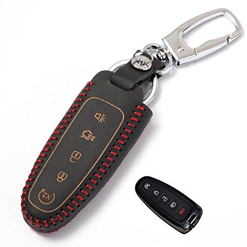 Echtes Leder smart case für Ford schlüsselanhänger fit Edge Flucht Explorer Flex Focus Flex Taurus Fusion zubehör halter tasche (alt 5Buttoms) (Ford Edge Schlüsselanhänger)