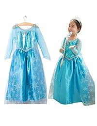 Ogquaton Elegante Niño Reina de Nieve Elsa Disfraz Princesa Vestido de Princesa Vestido Brillante para Fiesta