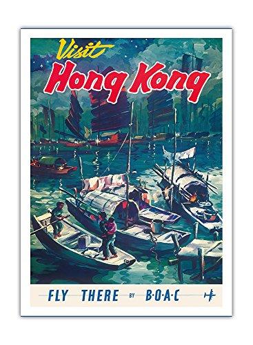 Besuchen sie Hong Kong - Fliegen sie mit BOAC (British Overseas Airways Corporation), - Chinesische Dschunke -Boote im Hafen von Hong Kong - Vintage Retro Fluggesellschaft Reise Plakat Poster c.1950s - Premium 290gsm Giclée Kunstdruck - 30.5cm x 41cm (Chinesischen Boote Dschunke)